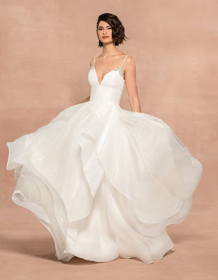 Blush by Hayley Paige Spaghetti Strap Organza Ball Gown Bridal Dress
