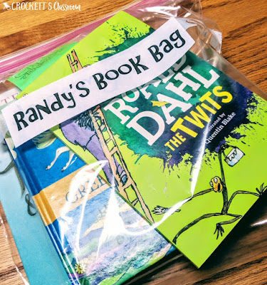 Keeping small, paperback library books in a plastic bag helps protect them as they go from desk to backpack.