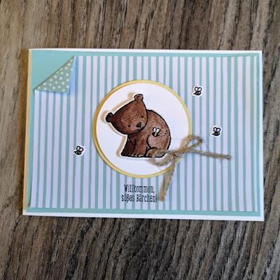 Babykarte Karte mi dem Set Tierische Glückwünsche von Stampin'Up!