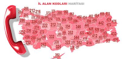 Türkiye haritası üzerinde şehirler arası il telefon alan kodlarının gösterimi