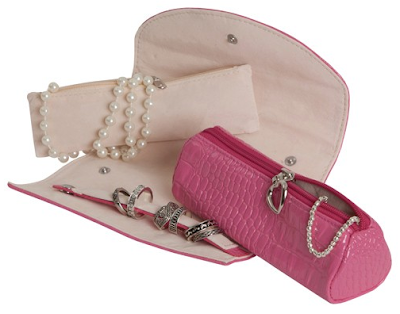 Jewelry travel storage case options: the Mele & Co Jenna travel jewelry roll. Via Diamonds in the Library.