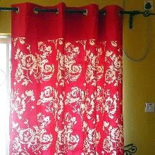 Eyelet Red Rose Curtain