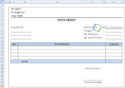Contoh Form Nota Kredit Dalam Excel