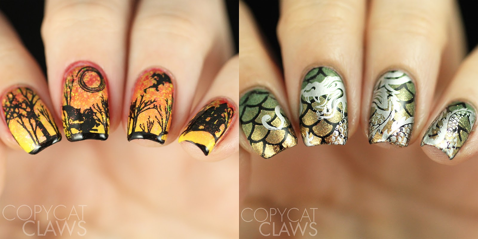 Copycat Claws Dragon Nails With Whats Up Nails Tropic Flakies And