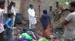 बहेड़ा मुल्तान अग्नि कांड में मदद करने पहुँचे सपा नेता वारिस अली अंसारी