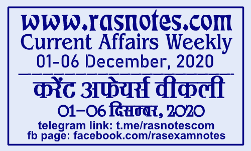Current Affairs GK Weekly December 2020 (01-06 December) in hindi pdf