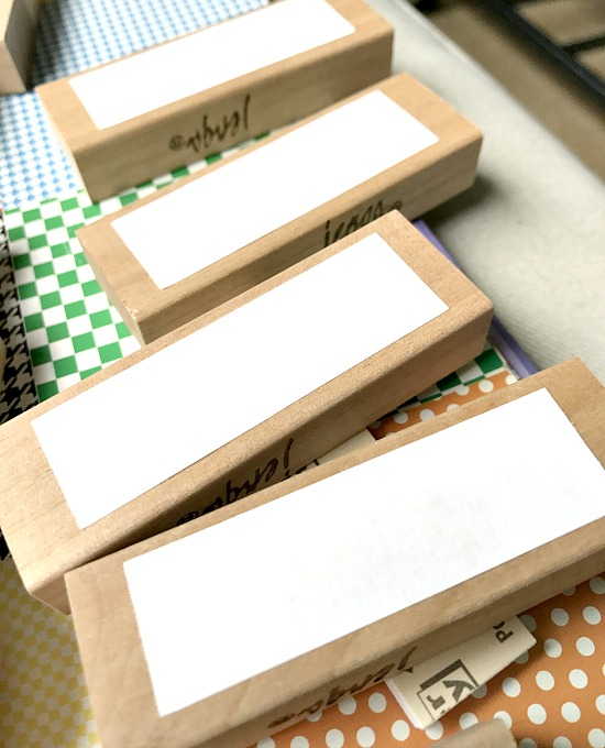 Jenga blocks with Post it note labels