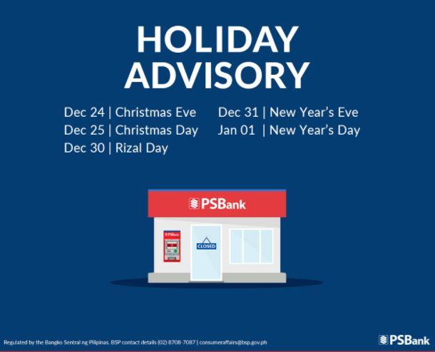 PSBank schedule December 2020