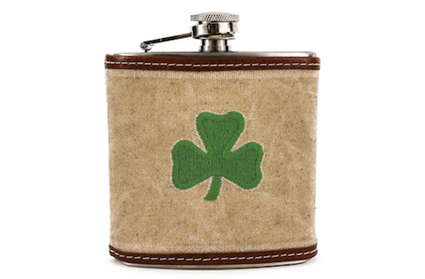 0b61b780dfc This is a 6 oz. stainless steel flask with waxed canvas and full grain  leather wrap permanently fixed around the flask. It is decorated with an  embroidered ...