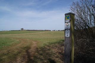 Auf einem Holzpfahl sind drei Wegzeichen von Wanderwegen angebracht. Im Hintergrund weite Landschaft.