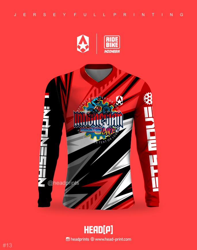 Merah Hitam Jersey Sepeda MTB Full Printing - Jersey Gowes Full Printing Custom