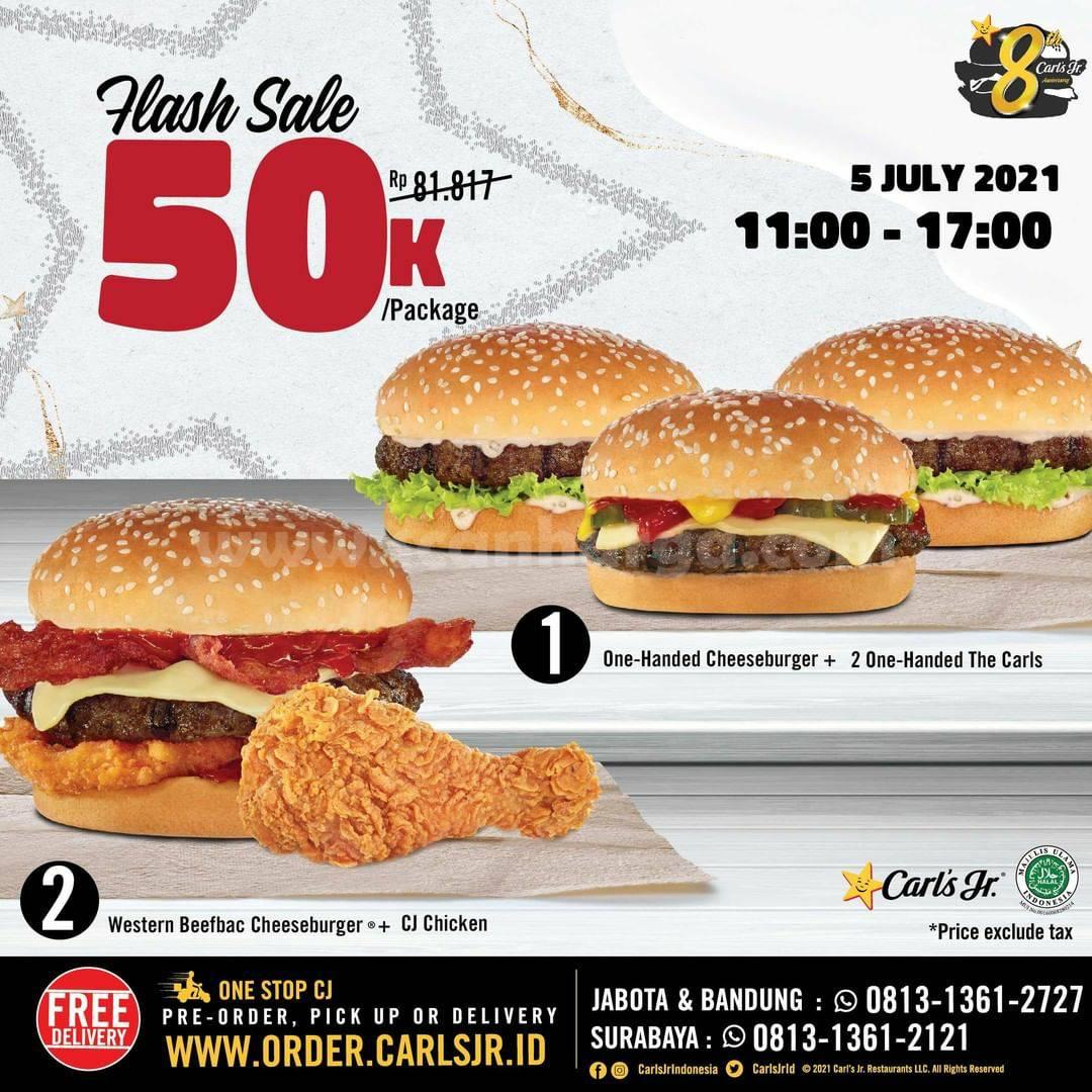 Carl's Jr Promo Flash Sale hanya Rp. 50.000 per paket