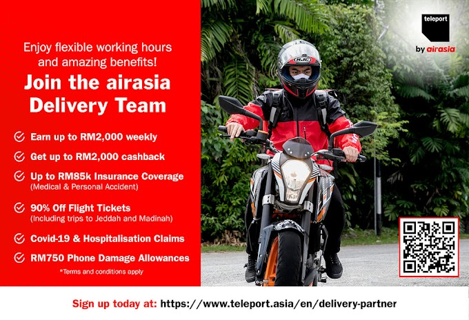 Teleport by airasia Ramps Up Benefits for Delivery Partners