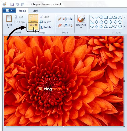 Cara Croping Gambar Sekali Klik dg Paint