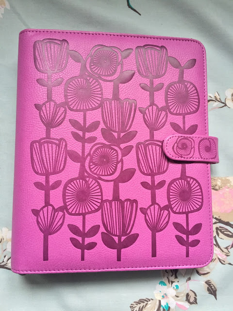 A5 planner from Paperchase, deep pink with embossed floral print