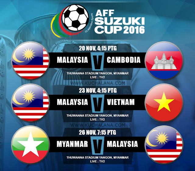 jadual perlawanan piala suzuki aff 2016 waktu malaysia