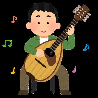 マンドローネを弾く人のイラスト(男性)