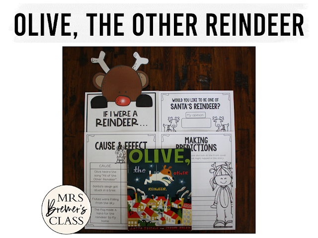 Olive the Other Reindeer book study unit with Common Core aligned Christmas literacy companion activities and craftivity K-1