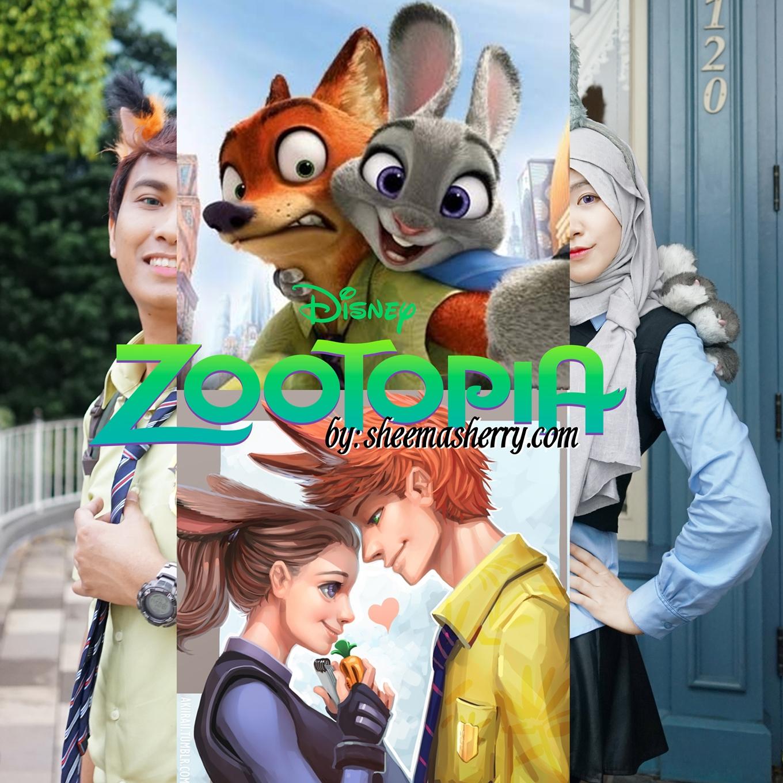Zootopia DisneyBounding / Cosplay in Hong Kong Disneyland : Feat. Real Disney's Zootopia Characters Judy Hopps Nick Wilde Hijab Cosplay