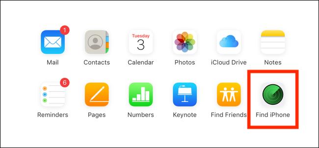 """انقر أو انقر فوق """"البحث عن iPhone""""."""