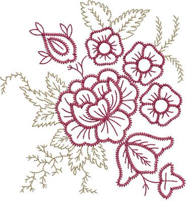 Gambar Dekoratif Pola Elemen Motif Bunga Digital Merah Coklat