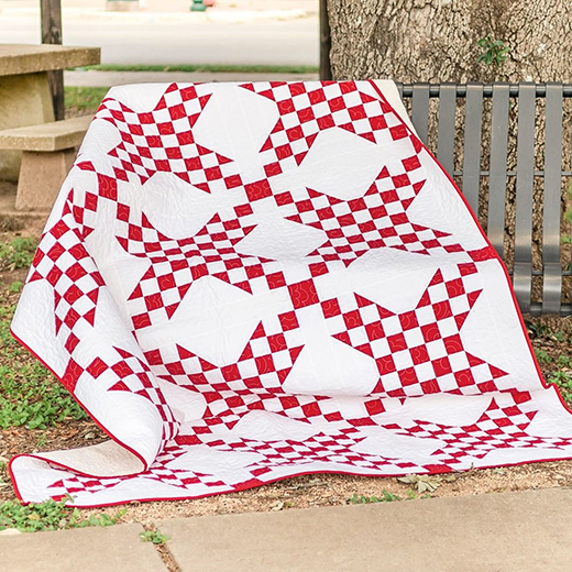 Postage Stamp Star Quilt Free Pattern Designed by Kimberly Jolly of Fat Quarter Shop