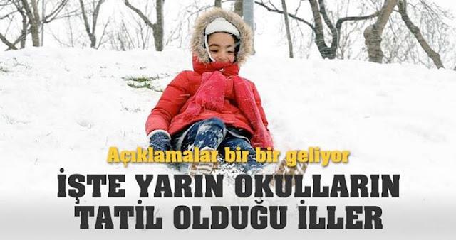 11 ocak 2017 hangi iller de okullar tatil? 12 ocak 2017 hangi iller de okullar tatil? yarın okullar tatil mi