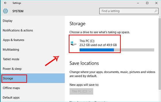 access storage on Windows 10