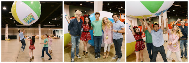 The cast of Teen Beach Movie have some fun with a giant beach ball at the 2013 Disney D23 Expo