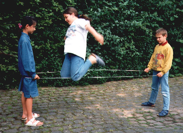 goma, elástica, juegos, juegos al aire libre, infantil