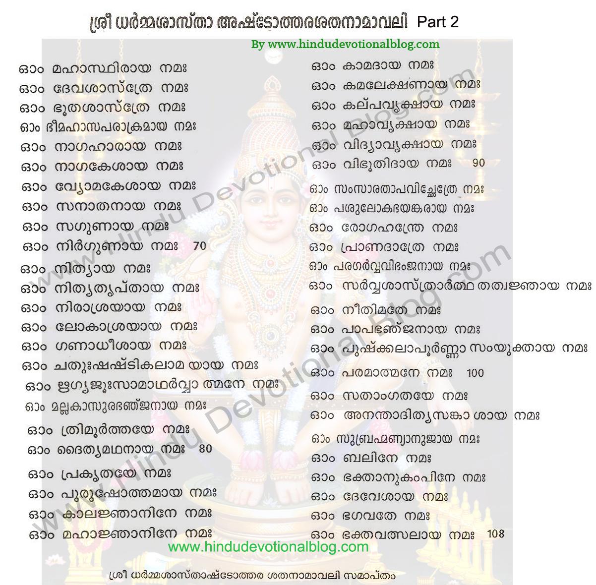 108 ayyappa saranam in english