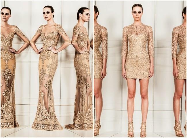 Zuhair Murad nude beige lace dresses