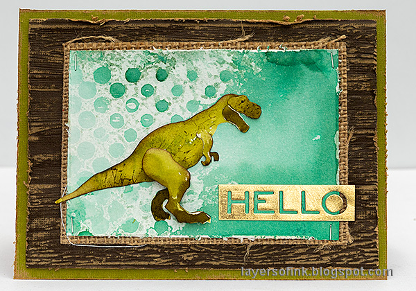Layers of ink - Dinosaur Cards Tutorial by Anna-Karin Evaldsson. T-Rex card.