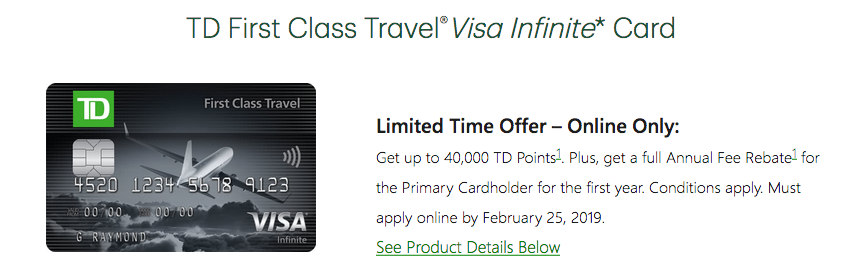 Td Visa Rewards >> Rewards Canada Td First Class Visa Infinite Card Up To