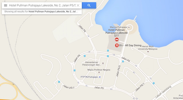 Location map to Pullman Putrajaya Lakeside on Google Maps