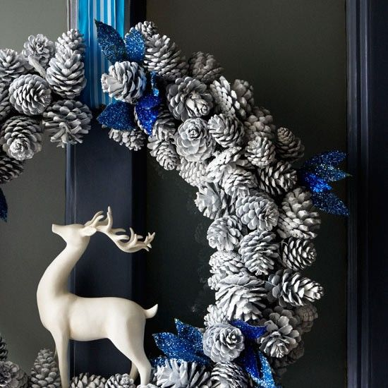 blue and white Christmas door wreath with deer