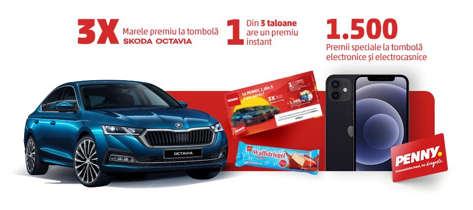Concurs Penny - Unu din trei e cu noroc - Castiga 3 masini Skoda Octavia - premii - la - buton - castiga.net