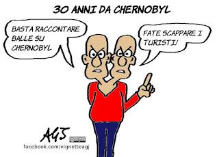 chernobyl, disinformazione, energia, ambiente, vignetta, satira