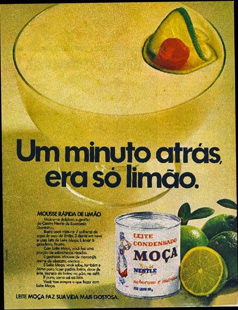 Propaganda antiga do Leite Moça com receita de mousse de limão