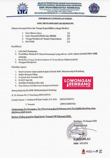 Lowongan Kerja Guru Bahasa Jawa, Otomotif, Pustakawan, Satpam SMK Muhammadiyah Rembang