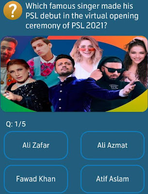 Which famous singer made his PSL debut in the virtual opening ceremony of PSL 2021?