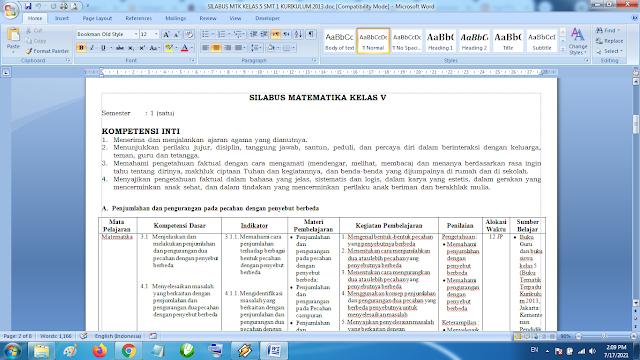 Download Silabus Matematika Kelas 5 SD MI Semester 1 Kurikulum 2013 Revisi Terbaru