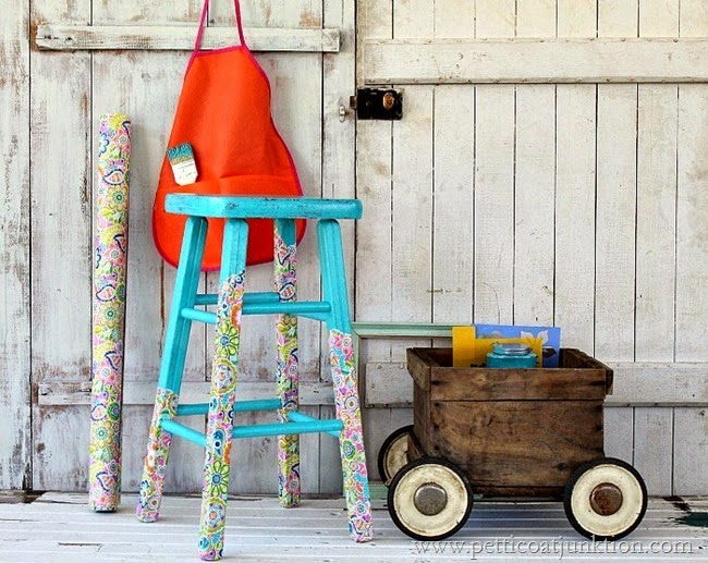 "10 COLORFUL Before and After Features : ""Paper Stripped, Not Dipped"" Petticoat Stool."