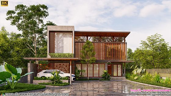 High Quality rendering of a modern tropical house
