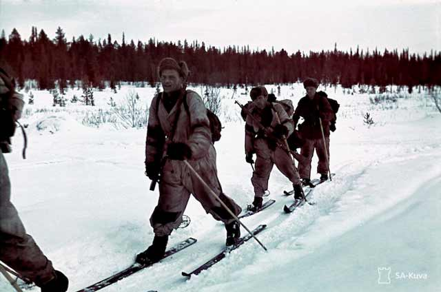 Finnish ski patrol soldiers on the move, 14 April 1942 worldwartwo.filminspector.com