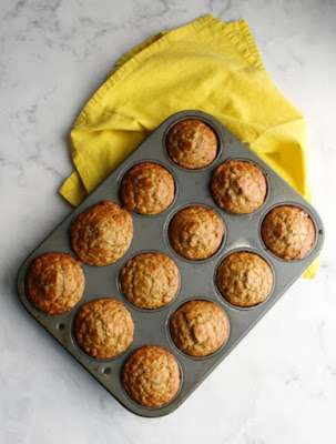 pan of banana oatmeal muffins straight from the oven