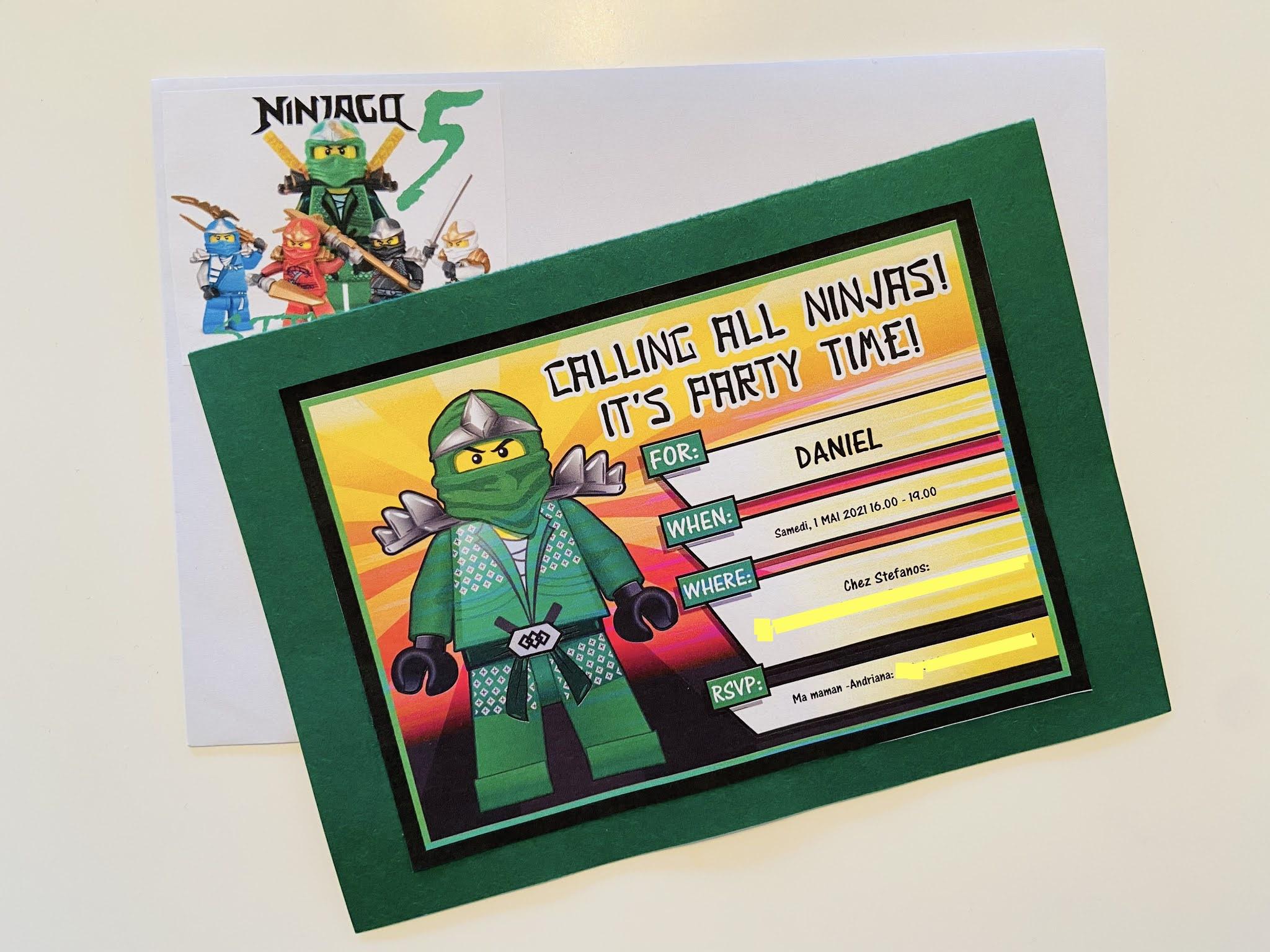 ninjago lego party invitation diy πρόσκληση εκτύπωση νίντζα παιδικό πάρτυ