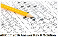 APICET 2016 Answer Key and Solutions