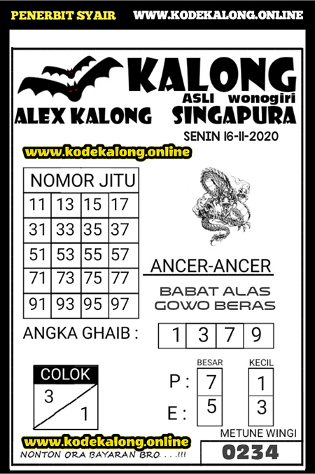 Syair Kalong SGP Senin 16 November 2020