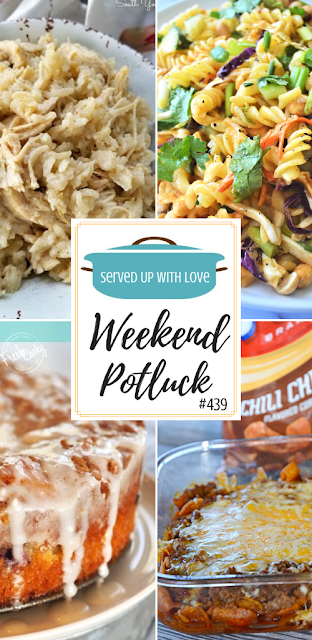 Weekend Potluck featured recipes include Walking Taco Casserole, Blueberry Crumble Cake, Thai Noodle Salad, Southern Style Crock Pot Chicken and Rice, and so much more.